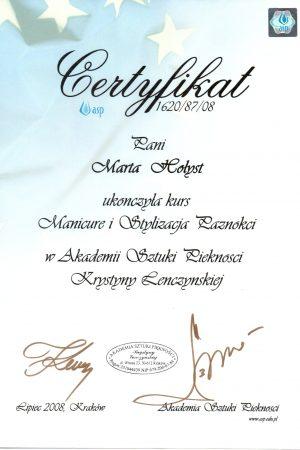 Certyfikat ukończenia kursu Manicure i Stylizacja Paznokci