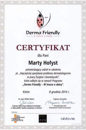 """Certyfikat potwierdzający uczestnictwo w szkoleniu pt. """"Najczęściej spotykane problemy dermatologiczne w pracy fryzjera i kosmetyczki"""""""