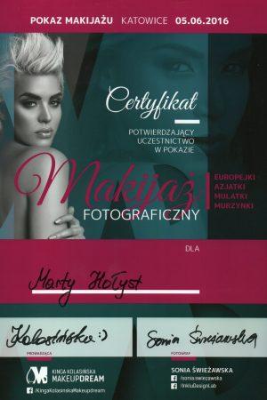 Certyfikat potwierdzający uczestnictwo w pokazie MAKIJAŻ FOTOGRAFICZNY