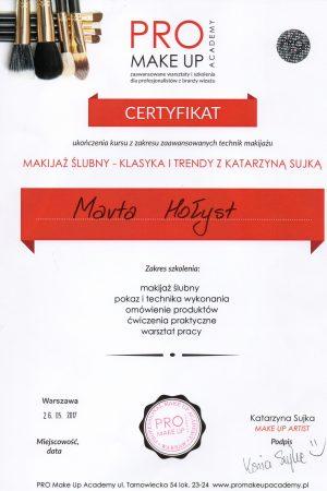 Certyfikat ukończenia kursu z zakresu zaawansowanych technik makijażu  - MAKIJAŻ ŚLUBNY - KLASYKA I TRENDY Z KATARZYNĄ SUJKĄ