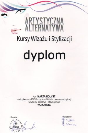 DYPLOM ukończenia rocznego Kursu Makijażu z elementami stylizacji
