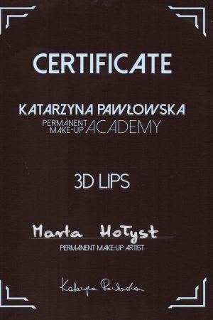 Certyfikat ukończenia szkolenia makijażu permanentnego ust METODĄ 3D LIPS
